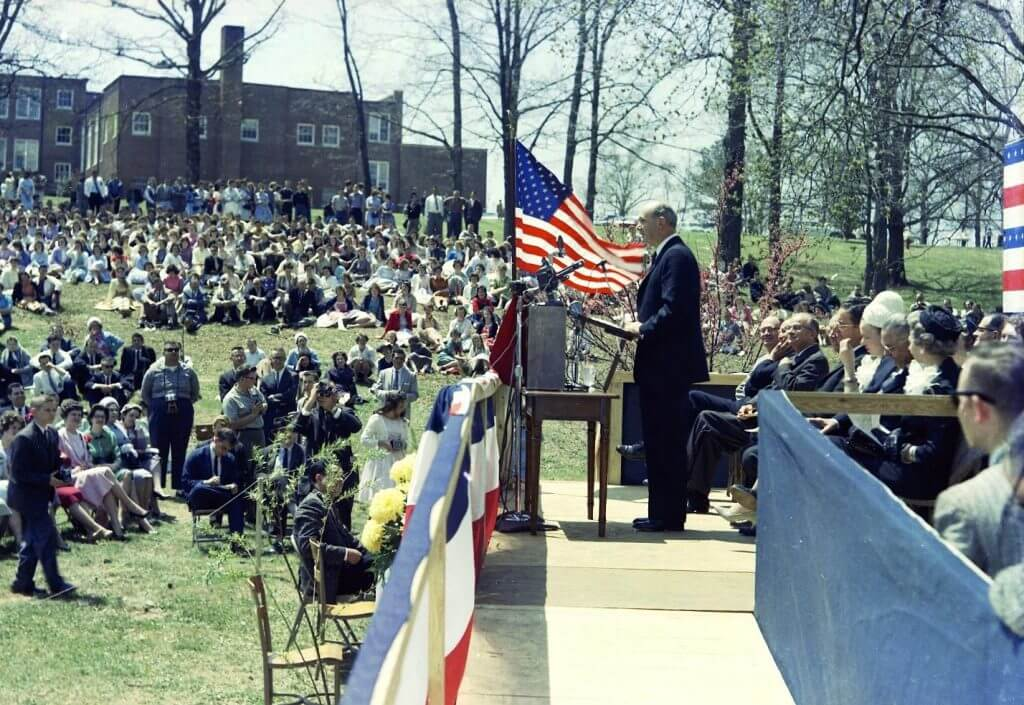 April 20, 1961. A large crowd gathered on the Reinhardt campus to hear Dean Rusk speak, only days after the Bay of Pigs crisis in Cuba. President Kennedy selected Rusk as his Secretary of State shortly after taking office in late 1960.